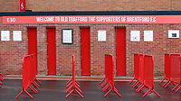 A sign above the turnstiles to welcome the supporters of Brentford ahead of the match during Manchester United vs Brentford, Friendly Match Football at Old Trafford on 28th July 2021