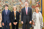 (L to r)Javier Ordonez, Ana Iribar and King Felipe VI of Spain and Consuelo Ordonez during the auddience of King Felipe VI with representation of Gregorio Ordonez Fenollar Foundation at Zarzuela Palace in Madrid. 20 January 2020. (Alterphotos/Francis González)