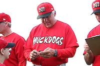 Batavia Muckdogs hitting coach Roger LaFrancois #17 signs autographs the teams pre-season pep rally at Dwyer Stadium on June 15, 2011 in Batavia, New York.  Photo By Mike Janes/Four Seam Images