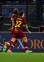 Calcio, Serie A: AS Roma vs Udinese, Olympic stadium, September 23, 2021.<br /> Roma's Tammy Abraham (L) celebrates after scoring with his teamate Nicolò Zaniolo (R) during the Italian Serie A football match between Roma and Udinese at Rome's Olympic stadium, on September 23, 2021.<br /> UPDATE IMAGES PRESS/Isabella  Bonotto