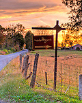 The sign marking the turn to Sugarleaf Vineyards (HDR image).