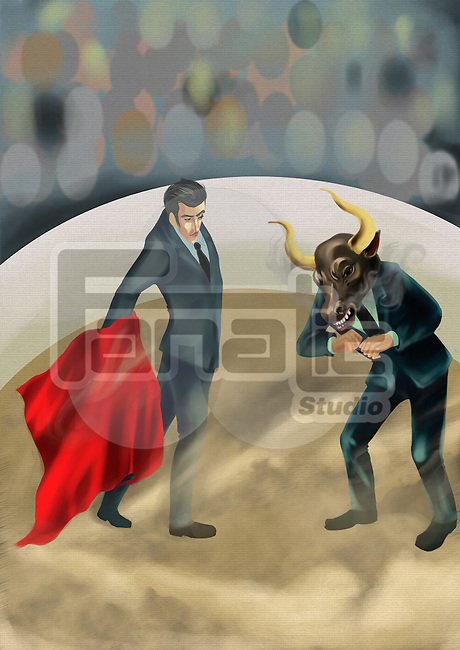 Illustrative image of businessman showing red cloth to bull