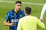 Football Club Internazionale Milano's Achraf Hakimi has words with the line referee during UEFA Champions League match. November 3,2020.(ALTERPHOTOS/Acero)