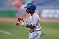 Dunedin Blue Jays Justin Ammons (3) after scoring a run during a game against the Clearwater Threshers on May 18, 2021 at BayCare Ballpark in Clearwater, Florida.  (Mike Janes/Four Seam Images)