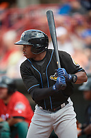 Akron RubberDucks center fielder Greg Allen (4) on deck during a game against the Erie SeaWolves on August 27, 2017 at UPMC Park in Erie, Pennsylvania.  Akron defeated Erie 6-4.  (Mike Janes/Four Seam Images)