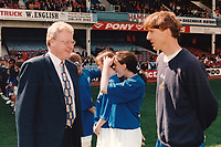 Graham Kelly of the FA (L) meets Millwall manager Jim Hicks during Millwall Lionesses vs Wembley, FA Women's Cup Final Football at the New Den, Millwall FC on 4th May 1997