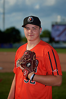 Aberdeen Ironbirds pitcher Malachi Emond (32) poses for a photo before a NY-Penn League game against the Staten Island Yankees on August 22, 2019 at Richmond County Bank Ballpark in Staten Island, New York.  Aberdeen defeated Staten Island 4-1 in a rain shortened game.  (Mike Janes/Four Seam Images)