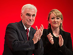 © Joel Goodman - 07973 332324 . 26/09/2016 . Liverpool , UK . Shadow chancellor JOHN MCDONNELL and REBECCA LONG-BAILEY after McDonnell delivers his speech on the economy to the conference . The second day of the Labour Party Conference at the ACC Liverpool . Photo credit : Joel Goodman