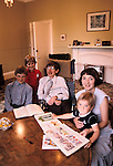 Professor Stephen Hawking 1981 at home Cambridge UK 1980s with young family. <br />