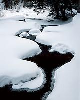 Snow-covered stream near Sprague Lake; Rocky Mountain National Park, CO