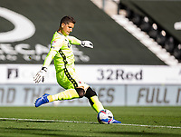 12th September 2020; Pride Park, Derby, East Midlands; English Championship Football, Derby County versus Reading; Reading Goalkeeper Rafael Cabral Barbosa takes a long goal kick up field