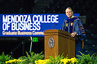 May 14, 2016; Richard Notebaert, Chairman, Board of Trustees, delivers the commencement address during the Mendoza College of Business Graduate Business Commencement Ceremony at the Purcell Pavilion. (Photo by Barbara Johnston/University of Notre Dame)