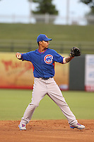 Gleyber Torres #13 of the AZL Cubs during a game against the AZL Rangers at Surprise Stadium on July 6, 2014 in Surprise, Arizona. AZL Rangers defeated the AZL Cubs, 7-5. (Larry Goren/Four Seam Images)