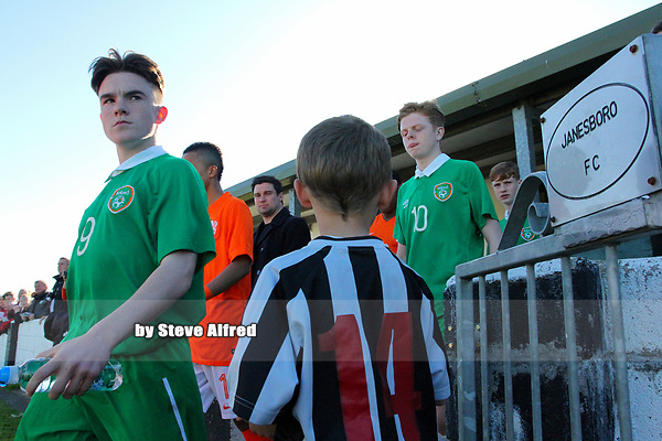 Aaron Connolly (At age 15) of Republic of Ireland U15 enters the pitch before the game.<br /> <br /> Republic of Ireland v Netherlands, U15 International Friendly, 14/4/15, Pearse Stadium, Janesboro FC, Limerick.