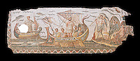 Roman mosaic depicting Ulysses resisting the songs of the Sirens on his way back from Troy. In Homers Odyssey it is told that when Ulysses returned home by ship he sailed past the island of the Sirens. Fable had it that the rapture induced by the songs of the Sirens forced sailors to jump overboard and drown. From the reign of Emperor Gallienus 260-280 AD. Excavated from The House of Dionysus and Ulysses, Dougga, Inv 2884A.