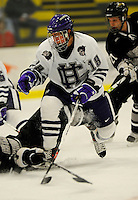 30 December 2007: Holy Cross Crusaders' forward Jamie Jelinek, a Freshman from Great Falls, VA, in action against the Western Michigan University Broncos at Gutterson Fieldhouse in Burlington, Vermont. The teams skated to a 1-1 tie, however the Broncos took the consolation game in a 2-0 shootout to win the third game of the Sheraton/TD Banknorth Catamount Cup Tournament...Mandatory Photo Credit: Ed Wolfstein Photo