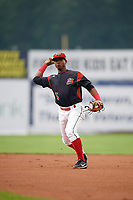 Batavia Muckdogs second baseman Samuel Castro (5) throws to first base during a game against the West Virginia Black Bears on August 7, 2017 at Dwyer Stadium in Batavia, New York.  West Virginia defeated Batavia 6-3.  (Mike Janes/Four Seam Images)