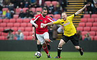 Former Watford players Allan Smart (left) & Nick Wright during the Sellebrity Soccer - Celebrity & legends football match with profits going to Watford Community sports & education trust at Vicarage Road, Watford, England on 12 May 2018. Photo by Andy Rowland.