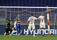 Roma s Henrikh Mkhitaryan, right, is congratulated by his teammate Jordan Veretout after scoring a goal during the Italian Serie A football match between Roma and Parma at Rome's Olympic stadium, July 8, 2020.<br /> UPDATE IMAGES PRESS/Isabella Bonotto