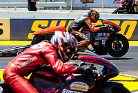 Jul 12, 2020; Clermont, Indiana, USA; NHRA pro stock motorcycle rider Ryan Oehler (far) defeats Matt Smith to win the the E3 Spark Plugs Nationals at Lucas Oil Raceway. This is the first race back for NHRA since the start of the COVID-19 global pandemic. Mandatory Credit: Mark J. Rebilas-USA TODAY Sports