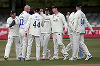 Chris Rusworth of Durham celebrates with his team mates after taking the wicket of Nick Browne during Essex CCC vs Durham CCC, LV Insurance County Championship Group 1 Cricket at The Cloudfm County Ground on 16th April 2021