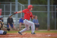 Ball State Cardinals left fielder Mack Murphy (12) bats during a game against the Mount St. Mary's Mountaineers on March 9, 2019 at North Charlotte Regional Park in Port Charlotte, Florida.  Ball State defeated Mount St. Mary's 12-9.  (Mike Janes/Four Seam Images)