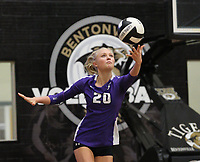 Brooke Rockwell (20) of Fayetteville serves ball on Thursday, Oct.  7, 2021, during play at Tiger Arena in Bentonville. Visit nwaonline.com/211008Daily/ for today's photo gallery.<br /> (Special to the NWA Democrat-Gazette/David Beach)