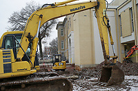 A construction site is shown, Thursday, February 11, 2021 at the Courthouse in Bentonville. Check out nwaonline.com/210212Daily/ for today's photo gallery. <br /> (NWA Democrat-Gazette/Charlie Kaijo)