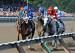 09 August 22: Careless Jewel (no. 5), ridden by Robert Landry and trained by Josie Carroll, rates behind Be Fair (no. 6) first time by the finish line before going on to win the 129th running of the grade 1 Alabama Stakes for three year old fillies at Saratoga Race Track in Saratoga Springs, New York.