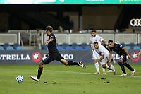 SAN JOSE, CA - OCTOBER 03: Chris Wondolowski #8 of the San Jose Earthquakes takes a penalty kick during a game between Los Angeles Galaxy and San Jose Earthquakes at Earthquakes Stadium on October 03, 2020 in San Jose, California.