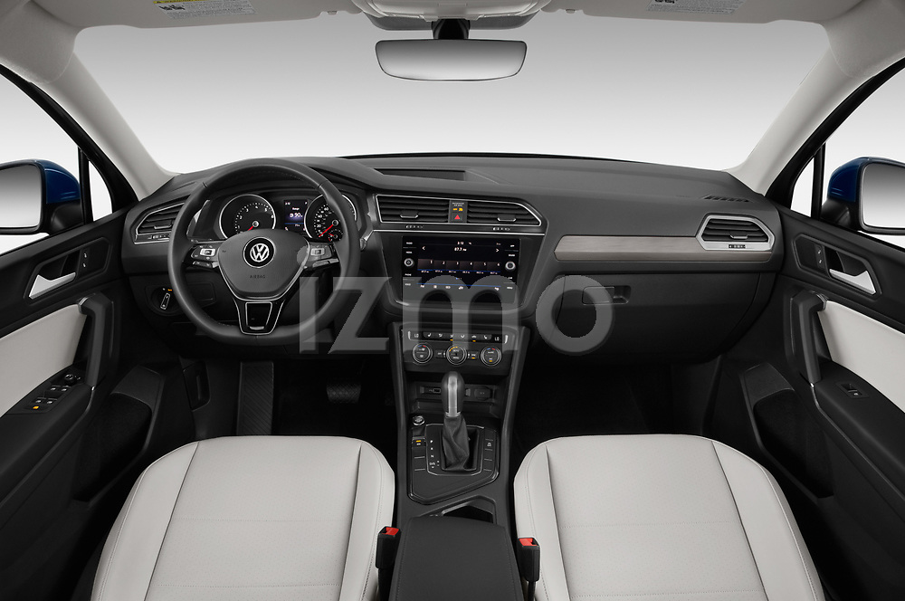 Stock photo of straight dashboard view of a 2019 Volkswagen Tiguan SE  5 Door SUV