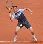 Damir Dzumhur (BIH) loses to Roger Federer (SUI) 6-4, 6-3, 6-2 at  Roland Garros being played at Stade Roland Garros in Paris, France on May 29, 2015