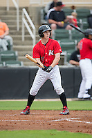Toby Thomas (5) of the Kannapolis Intimidators at bat against the Hickory Crawdads at CMC-Northeast Stadium on April 17, 2015 in Kannapolis, North Carolina.  The Crawdads defeated the Intimidators 9-5 in game one of a double-header.  (Brian Westerholt/Four Seam Images)