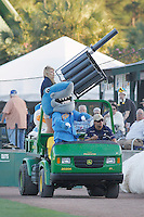 Myrtle Beach Pelicans Sports Turf Manager Corey Russell (driving), Senior Director of Business Development Jen Borowski (firing t-shirt cannon), Rally Shark and Splash Pelican firing t-shirts at the fans during a game against the Potomac Nationals at Ticketreturn.com Field at Pelicans Ballpark on May 23, 2015 in Myrtle Beach, South Carolina.  Myrtle Beach defeated Potomac 7-3. (Robert Gurganus/Four Seam Images)