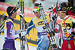 HOLMENKOLLEN, OSLO, NORWAY - March 16: (C) Jason Lamy Chappuis of France (FRA) wins the cross country 15 km (2 x 7.5 km) competition at the FIS Nordic Combined World Cup on March 16, 2013 in Oslo, Norway. (L) Akito Watabe of Japan (JPN) and (R) Wilhelm Denifl of Austria (AUT). (Photo by Dirk Markgraf)
