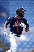 Binghamton Mets shortstop Amed Rosario (1) runs to first during a game against the Richmond Flying Squirrels on June 26, 2016 at NYSEG Stadium in Binghamton, New York.  Binghamton defeated Richmond 7-2.  (Mike Janes/Four Seam Images)