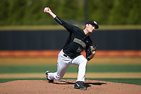 Wake Forest Demon Deacons starting pitcher Drew Loepprich (23) delivers a pitch to the plate against the Florida State Seminoles at David F. Couch Ballpark on April 16, 2016 in Winston-Salem, North Carolina.  The Seminoles defeated the Demon Deacons 13-8.  (Brian Westerholt/Four Seam Images)