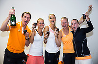 Bratislava, Slovenia, April 23, 2017,  FedCup: Slovakia-Netherlands, Dutch team wins the match and celebrates in the dressing room, Ltr: Captain Paul Haarhuis, Cindy Burger, Arantxa Rus, Kiki Bertens and Richel Hogenkamp  <br /> Photo: Tennisimages/Henk Koster