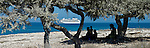 Cruise ship, 'The World' at anchor in the Mozambique Channel off the west coast of Madagascar near Andavadoka. Madagascar.