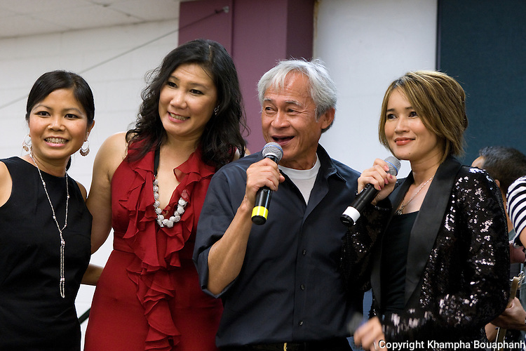 From left to right, Pom Khampradith, Vannasone Keodara,Voradeth Ditthavong, and Ketsana Vilaylack during the first annual Lao Artists Festival in Elgin, IL on August 21, 2010.  (photo by Khampha Bouaphanh)