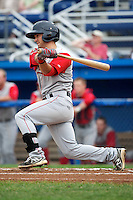 Lowell Spinners Mike Miller #17 during a game against the Batavia Muckdogs at Dwyer Stadium on July 7, 2012 in Batavia, New York.  Batavia defeated Lowell 3-0.  (Mike Janes/Four Seam Images)
