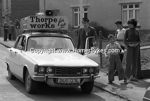"""""""Thorpe works for us."""" Jeremy Thorpe on the election campaign trail mid Devon constituency 1979. He lost  his liberal parliamentary seat. England."""