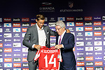 Atletico de Madrid's new player Marcos Llorente (l) with the President Enrique Cerezo during his official presentation. June 28, 2019. (ALTERPHOTOS/Acero)