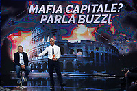 Salvatore Buzzi, condemned for the Mafia Capitale affair, appears as a guest on the tv show 'Non e' l'arena' together with the tv host Massimo Giletti. In the background on the screen the Colosseum<br /> Rome (Italy), October 11th 2020<br /> Photo Samantha Zucchi Insidefoto