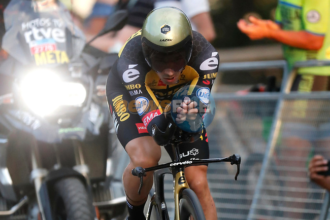 Defending Champion Primoz Roglic (SLO) Jumbo-Visma in action during Stage 1 of La Vuelta d'Espana 2021, a 7.1km individual time trial around Burgos, Spain. 14th August 2021.    <br /> Picture: Luis Angel Gomez/Photogomezsport | Cyclefile<br /> <br /> All photos usage must carry mandatory copyright credit (© Cyclefile | Luis Angel Gomez/Photogomezsport)