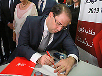 09 August 2019, Tunisia, Tunis: Tunisian Prime Minister Youssef Chahed is pictured at the Tunisian Independent High Authority for Elections, after he submitted his candidacy for the upcoming presidential elections. Chahed, 43, is one of more than 50 presidential hopefuls who have reportedly applied to run for president.<br /> <br /> PHOTO : Agence Quebec Presse - jdidi wassim