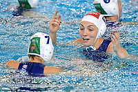Anna Illes of Hungary and Greta Gurisatti of Hungary celebrate the victory of the semi final and the qualification to Tokyo 2020 Olympic games <br /> Hungary HUN Vs Italy ITA <br /> Semifinal 1st-4th place <br /> Trieste (Italy) 23/01/2021 Bruno Bianchi Aquatic Center <br /> Fina Women's Water Polo Olympic Games Qualification Tournament 2021 <br /> Photo Andrea Staccioli / Deepbluemedia / Insidefoto
