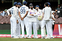 8th January 2021; Sydney Cricket Ground, Sydney, New South Wales, Australia; International Test Cricket, Third Test Day Two, Australia versus India; India team have a last minute team talk before play