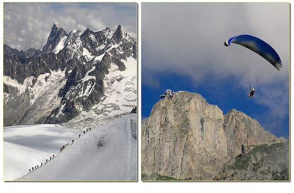 France, Chamonix.  <br /> John has been photographing adventure sports and travel for many years.  A typical day in the French Alps, Chamonix, France.