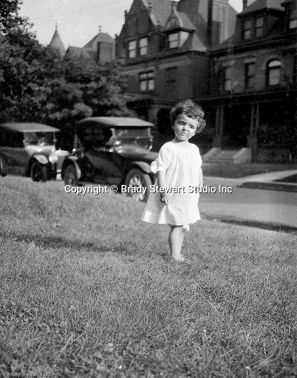 Point Breeze:  Helen Stewart outside her grandparent's house in the Point Breeze section of Pittsburgh.  The Stewart's lived at 6705 Thomas Street in Point Breeze.